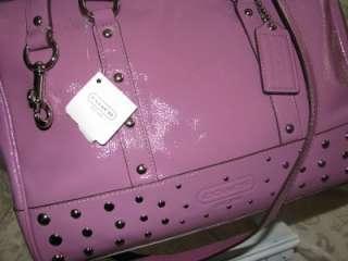 NEW TAG 16106 COACH NANCY PATENT LTR STUDDED CROSSBODY CARRYALL BAG