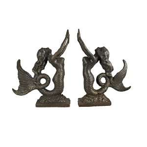 Bronzed Finish Mermaid Bookends Book Ends Cast Iron