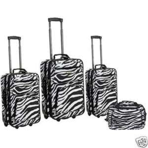Rockland Deluxe ZEBRA Print 4 pc Luggage set Rolling