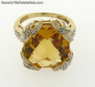 Antique Art Deco Citrine Diamond 14k Yellow Gold Ring