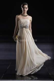 Bridesmaid Wedding Bowknot Gown Prom Ball Formal Evening Dress