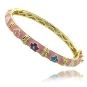 Overlay Childrens Pink Enamel Flower Design Bangle Bracelet Jewelry