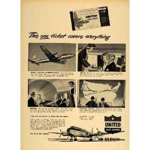 1949 Ad United Airlines Stewardess DC 6 Mainliner 300