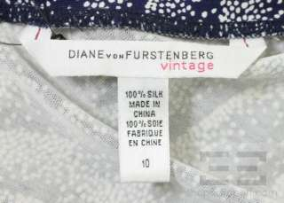 Diane Von Furstenberg Vintage Blue & White Silk V Neck Dress Size 10