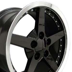 C6 Deep Dish Wheel with Rivets Machined Lip Fits Corvette   Black 17x9