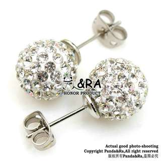 Hot 2 Styles White Earring Disco Swarovski Crystal Ball Steel Earring