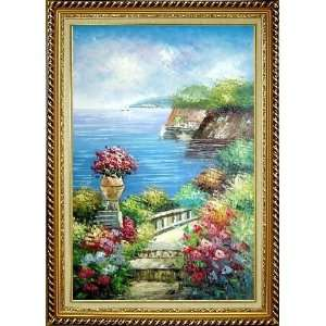 Steps by the Bay Oil Painting, with Linen Liner Gold Wood