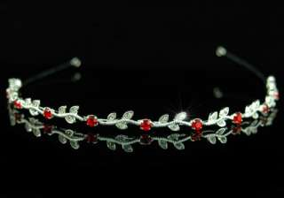 Bridal Red Crystal Rhinestone Headband Tiara T1239