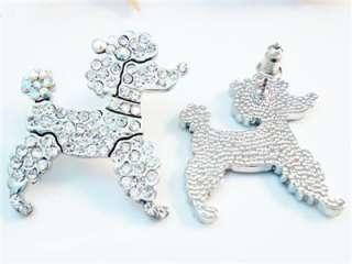 Toy Poodle Dog Pierced Earring Clear Swarovski Crystal