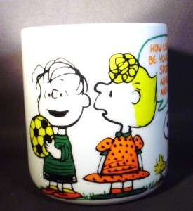 VINTAGE 1965 PEANUTS LINUS & SALLY COFFEE MUG HOW ABOUT HUGGING AND