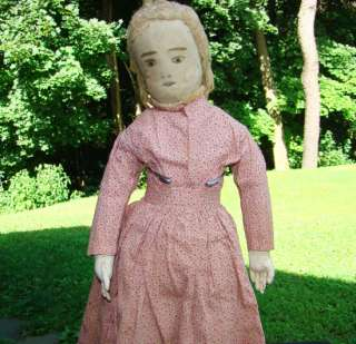 Antique 19thC Primitive Cloth Rag Doll in Pink Calico