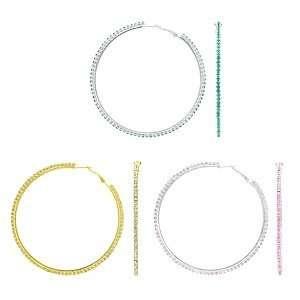 Emitations Rebas Rhinestone Hoop Earrings Set of 3, Gold