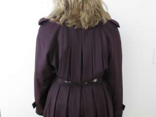 HILARY RADLEY PURPLE WOOL ZIP LINER TALL GIRL FAUX FUR PRINCESS COAT