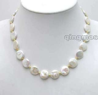 Beautiful High quality GRADE WHITE 10 11mm COIN PEARL NECKLACE 5228