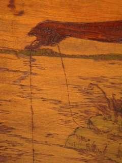 Lg. Antique Pyrographic Flemish Art Wood Plaque Indian