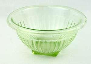 Green Depression Glass Mixing Bowl Diamond Crystal Shaker Salt Federal