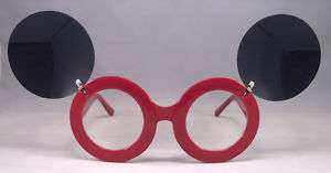 Big Mouse Ear Pop Star Round Flip Up Red Sunglasses