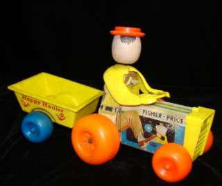vintage FISHER PRICE 732N HAPPY HAULER WOOD PULL TOY