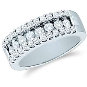 Size   4.5   14k White Gold Round Cut Diamond Ladies Womens Wedding or