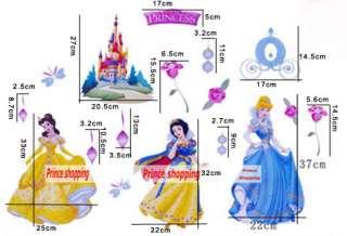 Cute Disney Princess Flower Room Wall Decor Stickers