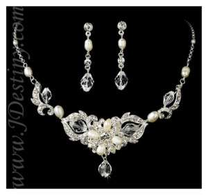 Bridal Crystal & Pearl Necklace Earrings Set Prom A295
