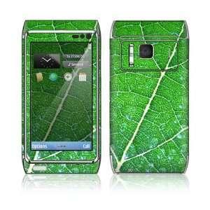 Nokia N8 Skin Decal Sticker  Green Leaf Texture