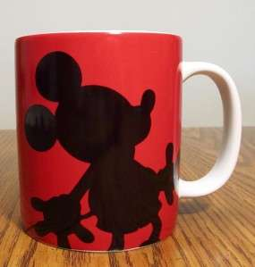 Disney Mickey Mouse In Silhouette on Red 16 oz. Mug EUC Authentic