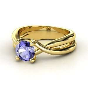 Entwined Ring, Round Tanzanite 14K Yellow Gold Ring Jewelry