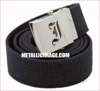 OLD ENGLISH INITIAL I CANVAS WEB BELT & BUCKLE