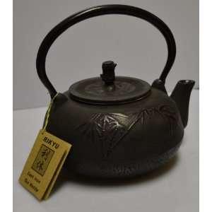 Japanese Large Cast Iron Teapot Kettle Black Bamboo