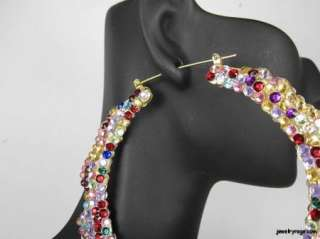 Poparazzi Inspired Basketball Wives Multi Colored Hoop Earrings