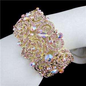Rose Floral Bracelet Bangle Cuff Swarovski Crystal Pink