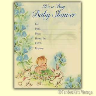 Vintage Retro 1950s Baby Boy Bunny Shower Invitations