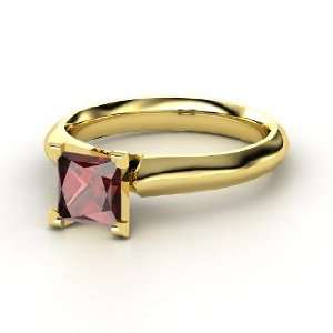 Princess Ring, Princess Red Garnet 14K Yellow Gold Ring Jewelry