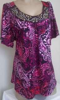 New Mixxology Womens Plus Size Clothing Purple Shirt Top Paisley