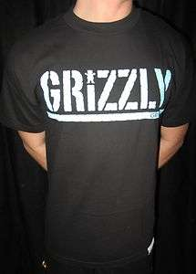 NEW MENS DIAMOND SUPPLY GRIZZLY GRIP TAPE BLACK T SHIRT PICK SIZE