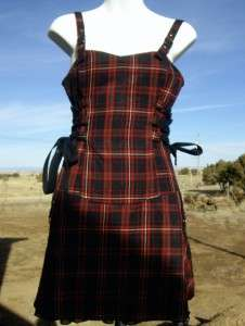 Lip Service Red Plaid Corset Dress Buckles Ribbons Ruffles Clasps S