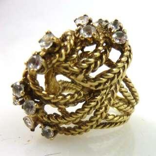 Vintage KARBRA Designer Signed Gold Toned Ring w/ Stones Size 7