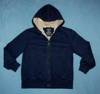 LL Bean BOYS Navy Blue Fleece Lined Camp Hoodie Jacket Size 10 12 M