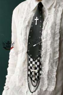 GOTHIC DOLL Visual Kei Punk 2 Layer Checker Neck Tie L