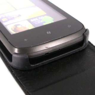 Leather Case Pouch Cover Skin + Film For HTC 7 Mozart p_Black