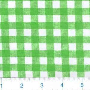 Wide Cotton/Lycra Jersey Knit Apple Green Check Fabric By The Yard
