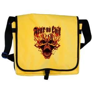 Messenger Bag Fear No Evil Flaming Skull   Harley Davidson