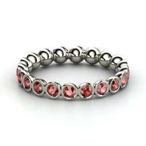 Pod Eternity Band, Sterling Silver Ring with Red Garnet