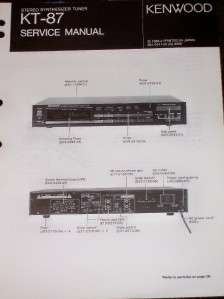 Kenwood KT 87 Stereo Synthesizer Tuner Service Manual