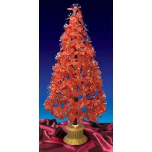 Changing Fiber Optic Red Poinsettia Christmas Tree