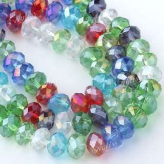 5x8mm Motley Faceted Crystal Glass Abacus Loose Beads