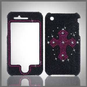 Pink Cross on Black Cristalina crystal bling case cover