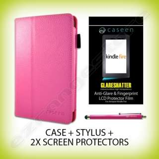 Leather Case Cover + Stylus + 2x Screen Protectors for Kindle Fire