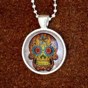 goth pendant Necklace Sugar Skull Day of the Dead Zombie tattoo biker